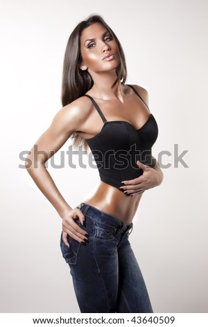 Sexy female in jeans - stock photo