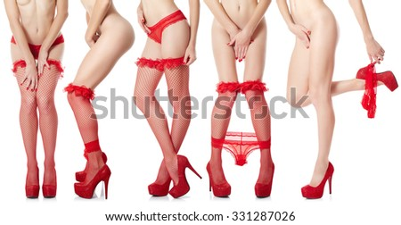 Sexy female legs in red lingerie isolated on white background. Set - stock photo