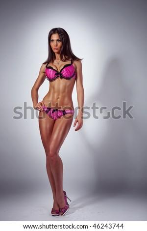 Sexy female posing in underwear - stock photo
