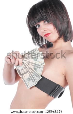 Sexy female with fan of dollars isolated on white