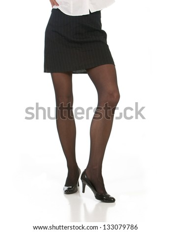 Sexy female with long legs isolated on white background - stock photo