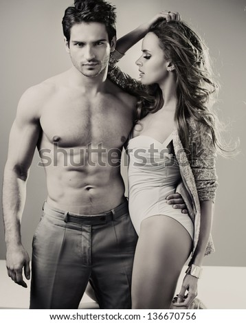 Sexy fit couple - stock photo