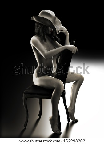 Sexy fit nude woman sitting on a chair wearing a cowboy hat with Studio lighting.   Photo realistic 3d model scene in Black and White  - stock photo