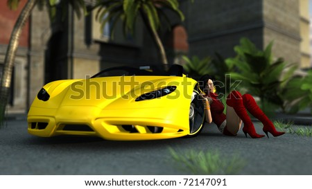 sexy girl and yellow sport car