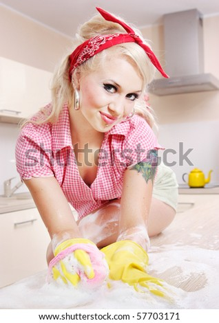Sexy girl cleaning, similar available in my portfolio - stock photo