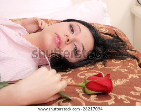 sexy girl erotica rose - stock photo