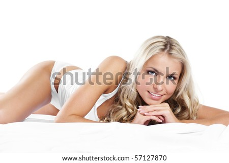 Sexy girl in lingerie over white background - stock photo