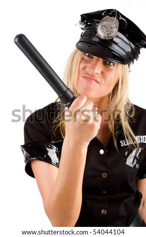 Sexy girl in police uniform is menacing - stock photo