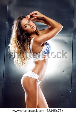 Sexy girl on grey background