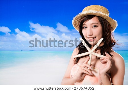 Sexy girl on the beach in spring time - stock photo