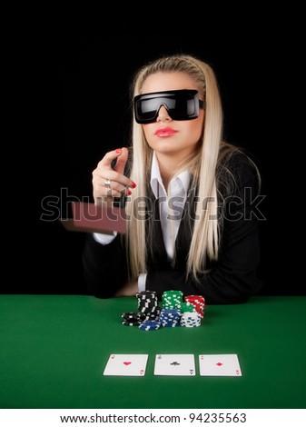 Sexy Girl Playing Poker - stock photo