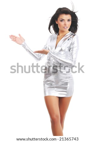 Sexy girl wearing silver dress - stock photo