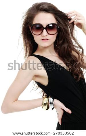 Sexy girl wearing sundress dress on white background - stock photo