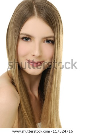 Sexy girl with beautiful long straight hair-