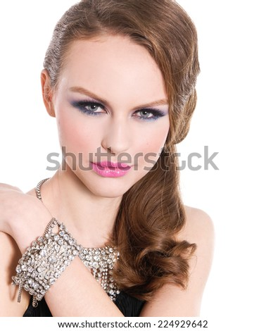 Sexy girl with bright make-up-and bracelet , Jewelry - stock photo