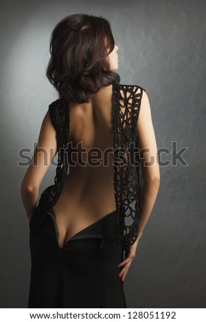 sexy girl with nice ass in dress - stock photo
