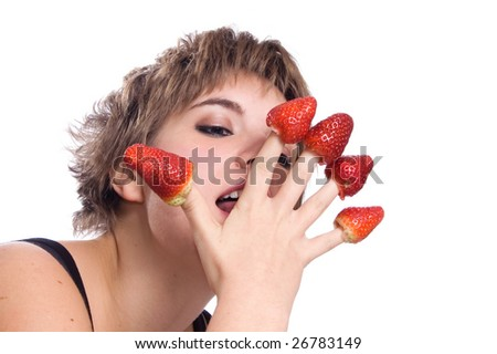 Sexy girl with red strawberry isolated on white background - stock photo