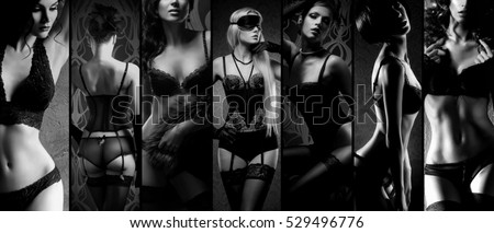 Sexy girls in lingerie. Erotica and underwear concept in black and white.