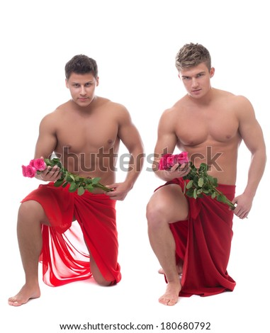 Sexy guys posing with roses, isolated on white - stock photo