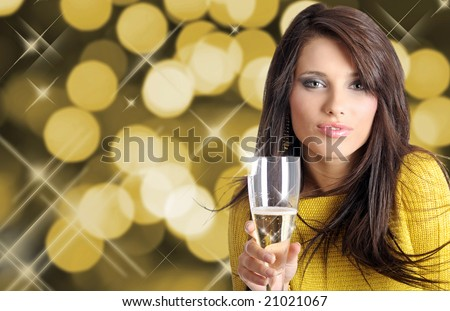 Sexy happy woman with champagne over holiday light background - stock photo