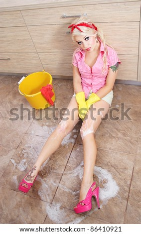 Sexy housewife - stock photo