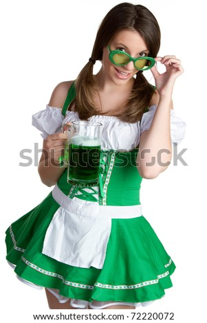 Sexy Irish St Patricks day girl - stock photo