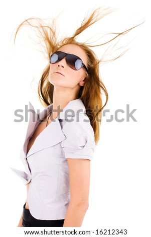 Sexy isolated young woman in stylish sunglasses - stock photo