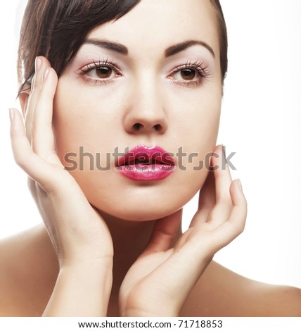 sexy lady with pink lips - stock photo
