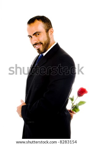 Sexy Latin Guy with Red Rose - stock photo