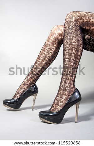 Sexy legs high heel shoes - stock photo