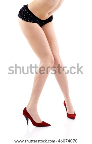 Sexy legs of beautiful woman isolated on white