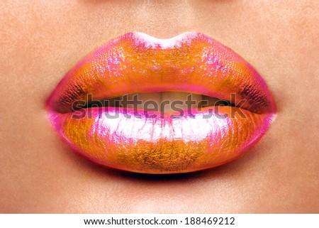 Sexy Lips. Beauty Red Lip Makeup Detail. Beautiful Make-up Closeup. Sensual Open Mouth. lipstick or Lipgloss. Kiss. Beauty Model Woman's Face close-up  - stock photo
