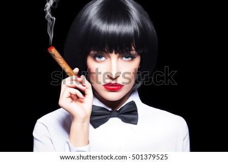 Sexy Mafiosi Woman Cigar Tuxedo Beauty Stock Photo 501379525 - Shutterstock