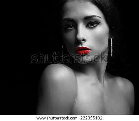 Sexy makeup woman with calm look. Art black and white portrait - stock photo