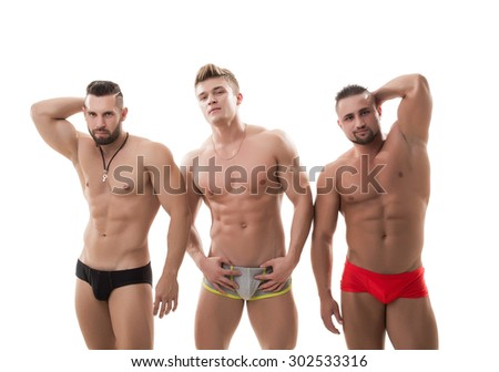 Sexy male models posing, isolated on white - stock photo