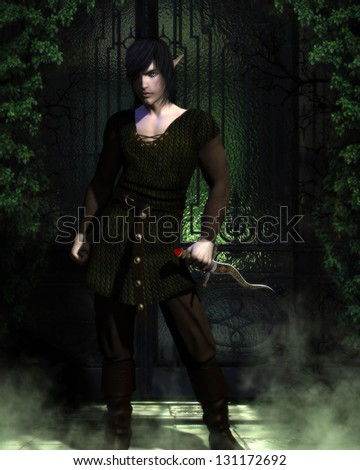 Sexy male that is half vampire and half elf standing before a green gated doorway holding a curvy dagger.