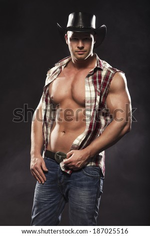 Sexy men like cowboy  - stock photo