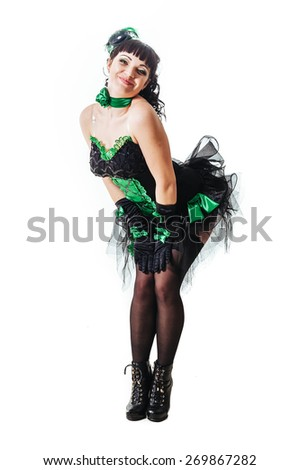 Sexy moulin rouge girl wearing hot lingerie. Girl in style Moulin Rouge fashion. Glamorous sexy woman in Moulin Rouge style hat and sequins fashion cabaret party - stock photo
