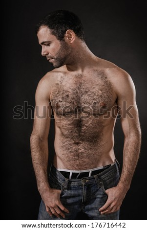 Sexy Muscled Shirtless Male - stock photo