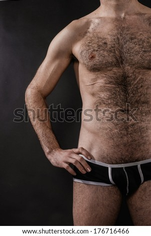 Sexy Muscled Shirtless Man - stock photo