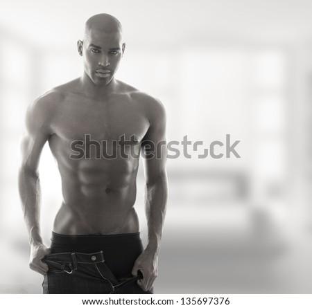 Sexy muscular male model in underwear - stock photo