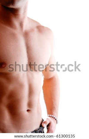 Sexy muscular man high key - stock photo