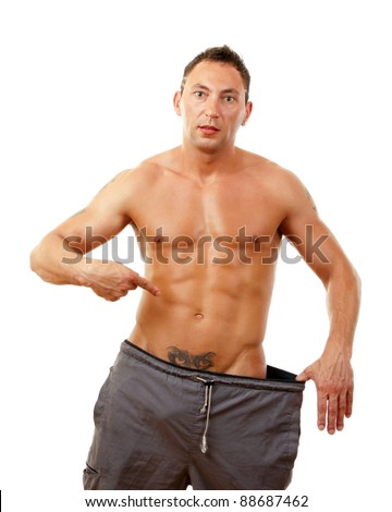 Sexy muscular man isolated on white background