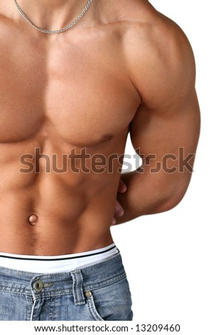 Sexy muscular torso isolated on white - stock photo