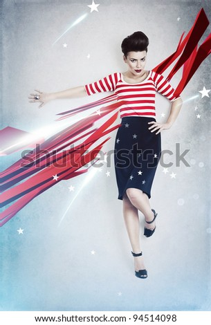 sexy pinup woman as american flag - stock photo