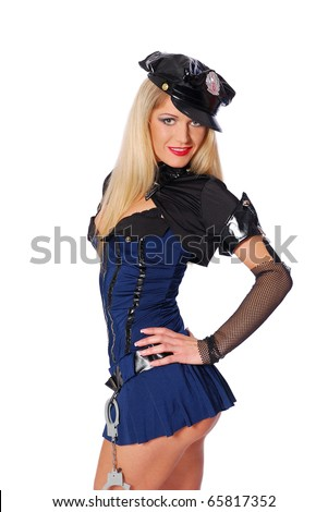 Sexy playful police woman - stock photo