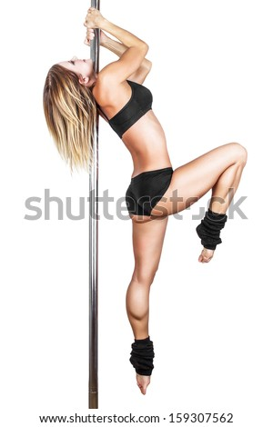 Sexy pole dancer practice, isolated on white - stock photo