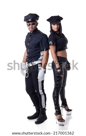 Sexy police officers, isolated on white - stock photo