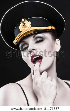 Sexy russian female officer - stock photo