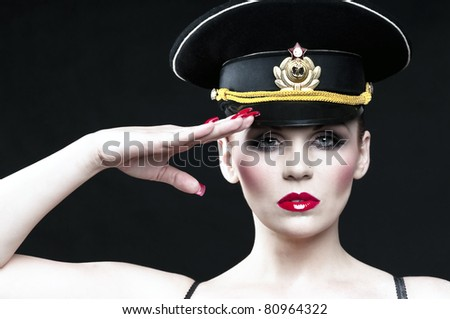 Sexy russian officer - stock photo